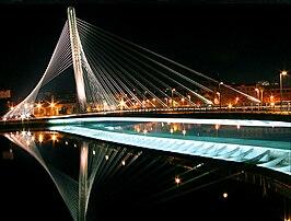 Puente dos Tirantes sobre el río Lérez.