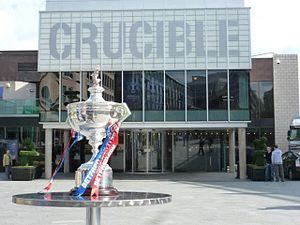 World Snooker Championship - The World Snooker Championship trophy in front of the Crucible Theatre