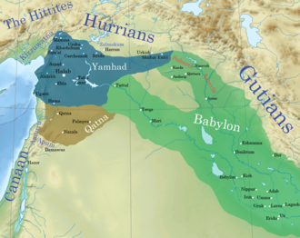 Shamshi-Adad I - A map of the Ancient Near East showing the geopolitical situation around Assyria near contemporary great powers such as: Yamhad (dark blue) and Qatna (dark brown), after the conquests of Hammurabi of the First Dynasty of Babylon (green) c. 1750 BC.