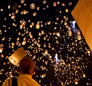 Paper lantern - Sky lanterns in the sky on the night of Loi Krathong in Thailand
