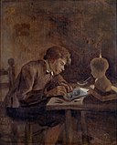 Young Draftsman by Candle Light by Jan Steen Museum De Lakenhal S 406.jpg