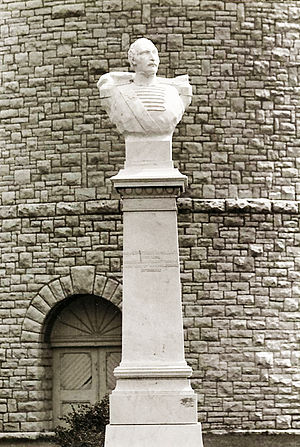 Ypsilanti Water Tower - Bust of Demetrius Ypsilanti. Note cross in stonework over the entrance.