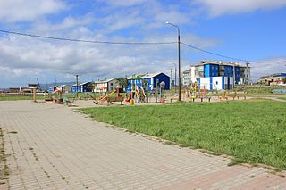 Urban-type settlement in Sakhalin Oblast, Russia