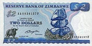 Banknotes of Zimbabwe - Image: Zimbabwe $2 1980 Obverse