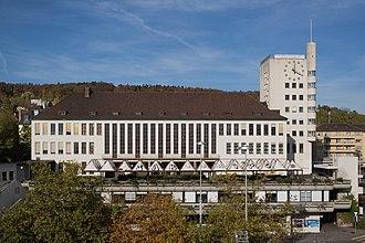 Wipkingen - Community hall (Kirchgemeindehaus Haus für das Volk) at the Limmat, locality of the Zentrum für Migrationskirchen