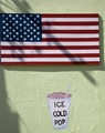 """""""Ice Cold Pop"""" sign and American flag advertised on Route 66, Seligman, Arizona LCCN2010630131.tif"""
