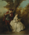 """LE DUO"", A YOUNG MAN PLAYING THE FLUTE AND A YOUNG WOMAN SINGING IN A LANDSCAPE.PNG"