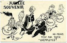 Caricature représentant la famille royale portant des sacs remplis d'argent