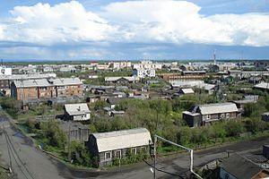 Zyryanka, Sakha Republic - Aerial view of Zyryanka