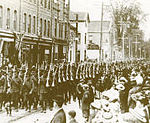 The 116th Battalion (Ontario Regiment) marches through Oshawa, May 1916