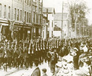 The Ontario Regiment (RCAC) - The 116th Battalion (Ontario Regiment) marches through Oshawa, May 1916