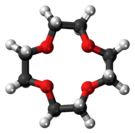Ball-and-stick model of the 12-Crown-4 molecule