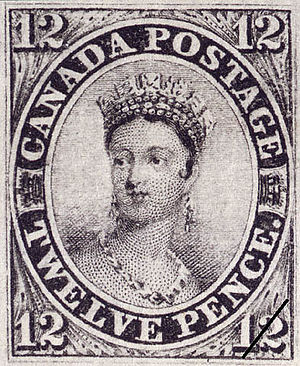 Chalon head - 1851 Chalon head stamp of Queen Victoria issued by Canada.
