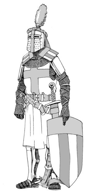 Ailette - A knight of the middle 13th century. Over his shoulders, he has the ailette