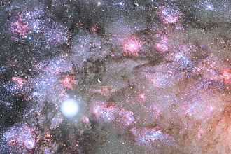 Galaxy formation and evolution - Artist image of a firestorm of star birth deep inside core of young, growing elliptical galaxy.