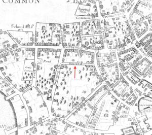 Hawley Street (Boston) - Image: 1723 Bishops Alley Boston map by John Bonner BPL 11122 detail