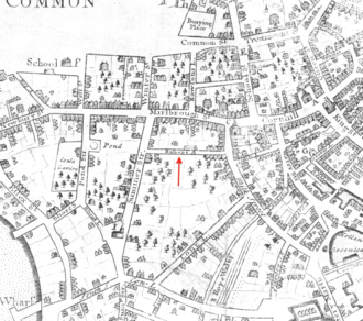 Hawley Street (Boston) - Image: 1723 Bishops Alley Boston map by John Bonner BPL 11122 detail