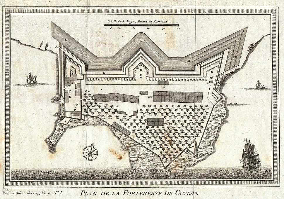 1756 Bellin Map of Kollam Fort, Kerala, India - Geographicus - Coylan-bellin-1756