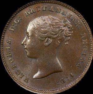 Half farthing - Image: 1843 Great Britain Half Farthing Obverse