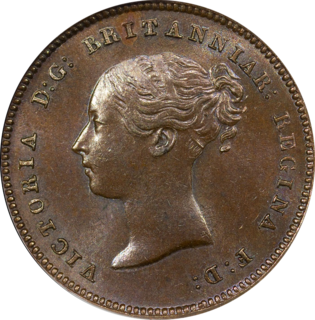 Half farthing British coin valued at one eighth of a penny