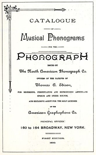 North American Phonograph Company - The title page of North American Phonograph Company's first catalog, 1890