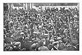 1910-01-27, Actualidades, El público rodeando a la bandera y a la cantinera (x) del batallón de cazadores de Barbastro al paso de las tropas por la calle de Alcalá, Goñi.jpg