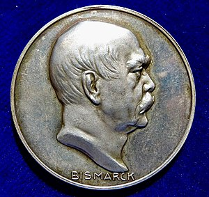 Paul Sturm - 1915 WWI Judaica Silver Medal by Sturm for Otto von Bismarck's 100th Birthday, edited by Hugo Grünthal, obverse.