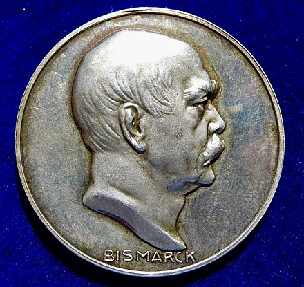 1915 WWI Judaica Silver Medal by Hugo Grunthal and Paul Sturm for Bismarck's 100th Birthday, obverse. 1915 WWI Judaica Silver Medal 100th Anniversary of Bismarck, obverse.jpg