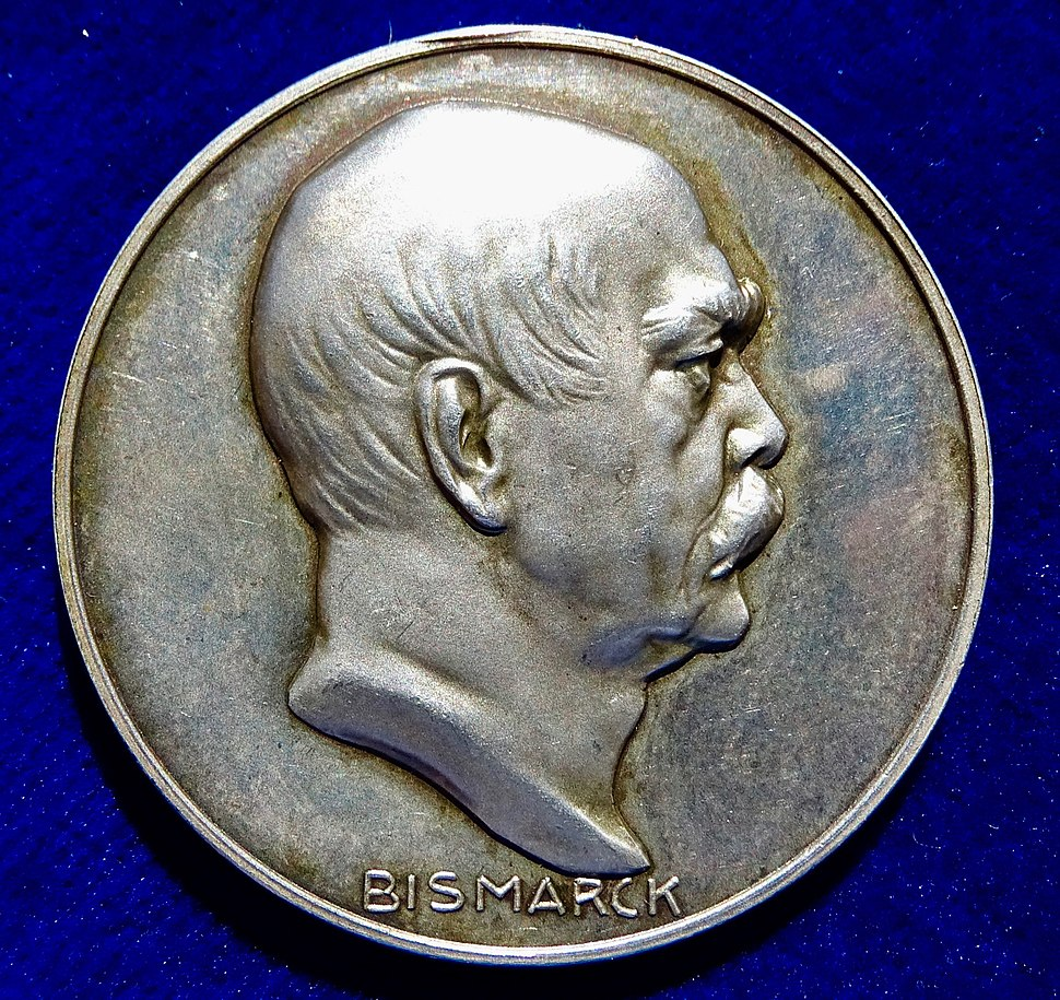 1915 WWI Judaica Silver Medal 100th Anniversary of Bismarck, obverse