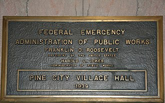 Public Works Administration - Federal Emergency Administration of Public Works project plaque on the Pine City, Minnesota City Hall