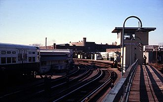 Logan Square station - The older elevated station, later demolished after the new subway station opened