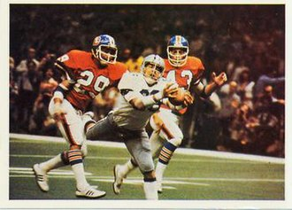 1977 NFL season - The Cowboys playing against the Broncos in Super Bowl XII.