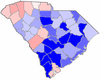 Blue counties were won by Hodges and red counties were won by Beasley