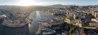 Marseille - The entrance to the Old Port, flanked by Fort Saint-Jean and Fort Saint-Nicolas