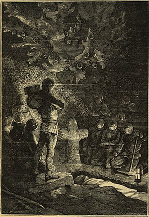 Burial - Underwater funeral in Twenty Thousand Leagues Under the Sea from an edition with drawings by Alphonse de Neuville and Édouard Riou