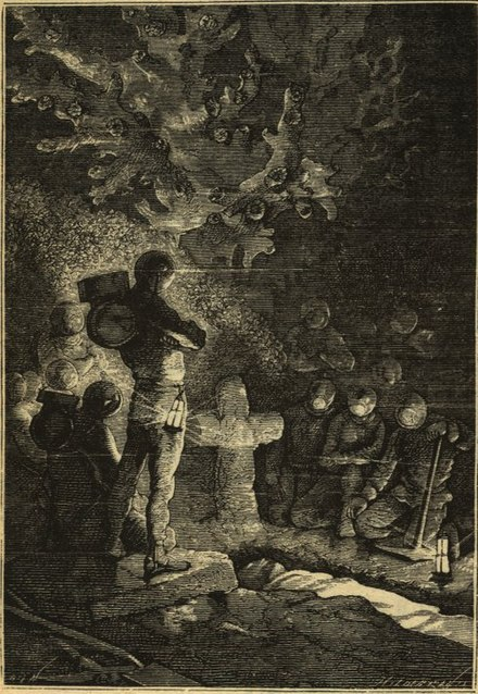 Underwater funeral in Twenty Thousand Leagues Under the Sea from an edition with drawings by Alphonse de Neuville and Edouard Riou 20000 graveyard.jpg