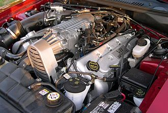 Ford Modular engine - 4.6 L 4-valve DOHC supercharged V8 installed in a 2003 and 2004 Ford Mustang SVT Cobra