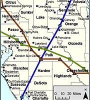 a map of west central Florida showing the paths of three hurricanes whose convergence point is near Bartow