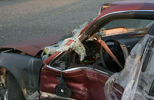 A wrecked car in Durham, North Carolina..