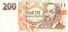 Портрет Я. Коменского на банкноте в 200 чешских крон