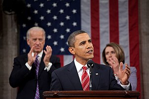 2010 State of the Union Address - President Barack Obama delivering the State of the Union to the United States Congress with Vice President Joe Biden and House Speaker Nancy Pelosi.
