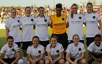 Becky Edwards (soccer) - Edwards, top (second from left) in the starting lineup for the Portland Thorns, 2013