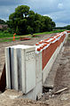 2013 an der Fuhse in Celle, Bauarbeiten Hochwasserschutz, Blick von der Brücke Neustadt, Nienburger Straße, B 214, 03.JPG