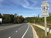 2016-10-14 16 11 36 View north along Maryland State Route 182 (Layhill Road) just north of Maryland State Route 200 (Intercounty Connector) in Aspen Hill, Montgomery County, Maryland.jpg