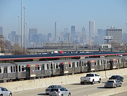 The 47th Street station on the Red Line on the Dan Ryan Expressway. The road accounts for a third of the neighborhood's area.