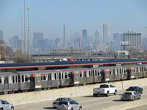 Fuller Park, Chicago - The 47th Street station on the Red Line on the Dan Ryan Expressway. The road accounts for a third of the neighborhood's area.