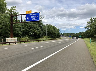 Montvale, New Jersey - Entrance to the Montvale Service Area along the northbound Garden State Parkway in Montvale