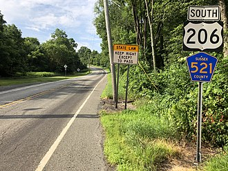 Montague Township, New Jersey - US 206 and CR 521 southbound in Montague Township