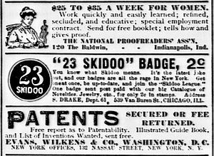 23 skidoo (phrase) - Advertisement for a 23 Skidoo Badge in The New York Tribune (29 July 1906)