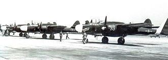 Mitchel Air Force Base - 2d Fighter Squadron (All Weather) Northrop P-61Bs on parking apron at Mitchel AFB in October 1948